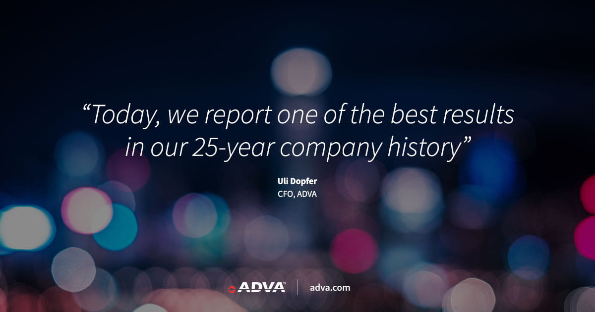 ADVA posts annual revenues of EUR 556.8 million for 2019